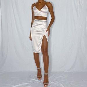 Aritzia ten by babaton aria bra top and skirt set